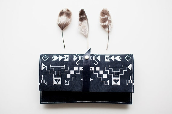 Tribal Pattern Leather Suede Navy Blue with White No. LP-101