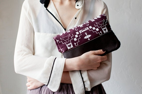 SUMMER SALE Tribal Pattern Printed  Leather Pouch Plum No. ZP-101