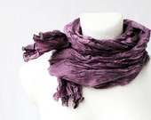 Cyber Monday Christmas SALE Eggplant Wrinkled Scarf purple Fall Autumn Winter