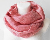 Christmas SALE Rose Bud Linen Loop Circle Scarf infinity Fall Autumn Winter