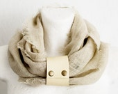 Valentine SALE Linen Scarf With Detachable Leather Loop