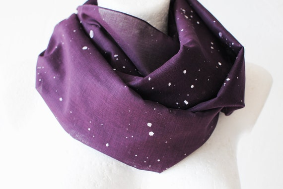 Cyber Monday Christmas SALE Grape Purple Splatter Loop Circle Scarf infinity cotton