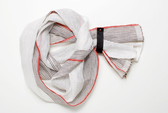 Spring SALE Brown Striped Linen Scarf With Leather Loop