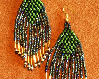 Native American style fringed beaded earrings in green and irridescent colors