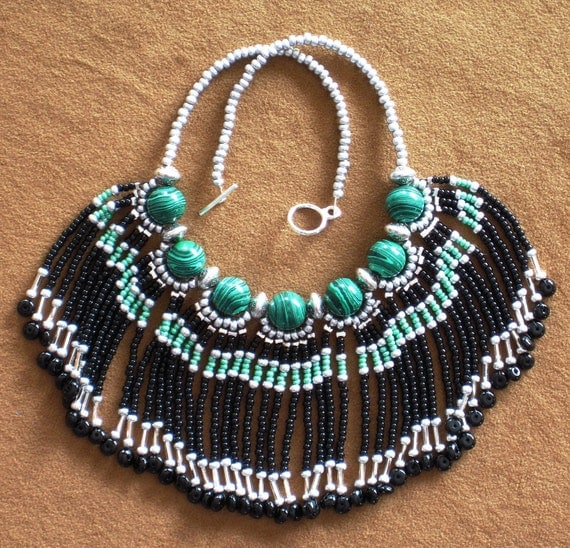 Native American style tribal fringed collar necklace in lime green, black, and silver with emerald green malachite stones