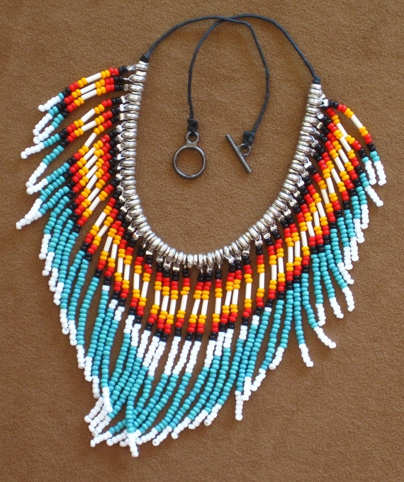 Native American style fringed turquoise and silver seed bead necklace