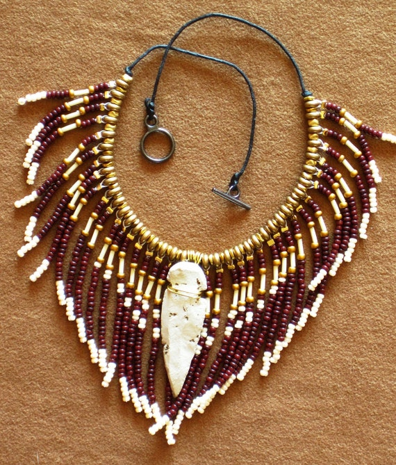 PRICE REDUCED Native American style fringed beaded necklace in gold, chocolate brown and pearly white with stone arrowhead