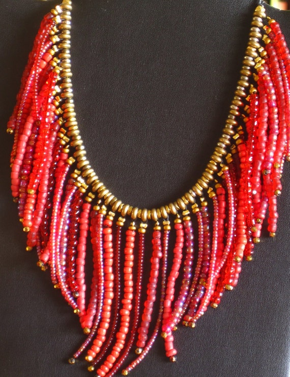 Southwestern style fringed beaded necklace in shades of red