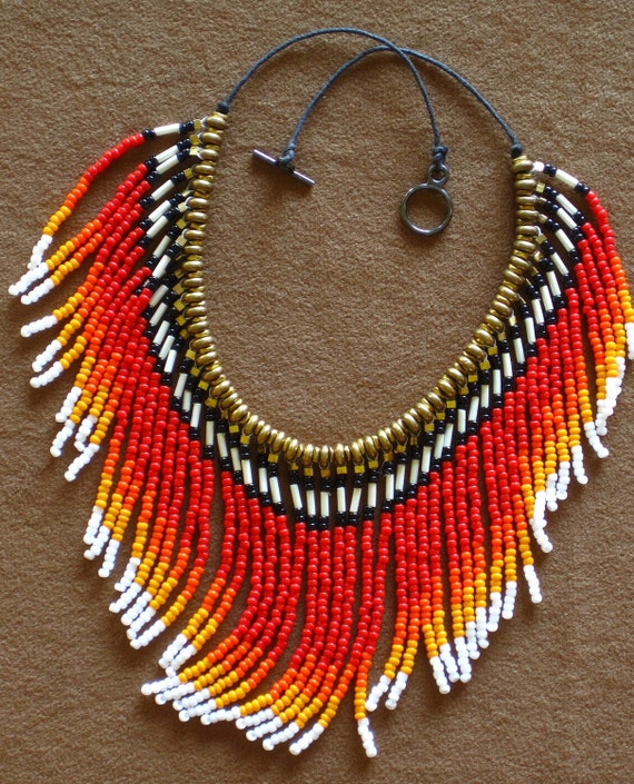 Native American style fringed beaded necklace in red, orange, yellow and white