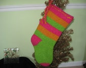 Christmas in July Hot Pink Green Gold Stripe Hand Knit  Felted Christmas Stocking