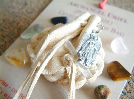 Archangel Uriel pocket-size Crystal Medicine Bag
