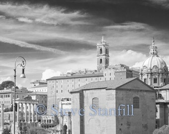 Old Roman Forum surrounded by modern Rome