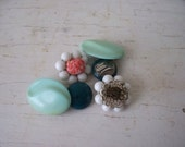 Beautiful Things Earring Lot Clip On Teal Green SALE