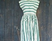 RESERVED 1950's Housewife /// Teal Stripped Day Dress S Mad Men