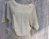 1980's Glitz / Batwing Top / Oversized Shirt Small / Black and Gold