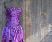 1980's Purple Satin / Formal Cocktail Gown / XS