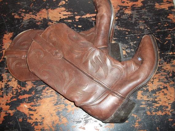 Cowboy Boots Women's Size 10 Or Mens size 8 Leather Durango