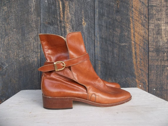 RESERVED --- RALPH LAUREN Riding Boots / Women's Size 6.5 B / Quality Caramel Brown Leather / Buckle Wrap Detail