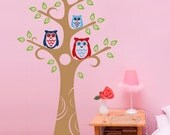 Owls Wall Decals - Three Owl and the Tree Wall Stickers - TROW010