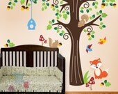 Animals in the Wood Wall Stickers - Nursery Wall Decals for Kids Vinyl Decals -  PLFR010L