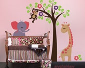 Safari Animals Wall Decals - Monkey on the Tree with Curious Giraffe and Elephant - PLSF050L
