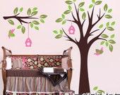 Children Nursery Wall Decal Wall Sticker Kids Decal - Tree Wall Decal with Birds - Baby Nursery Wall Decals -  TRBL030R