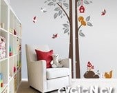Children Wall Decal Wall Sticker - Squirrels On the Tree with Birds and Birdhouse - PLWD020L