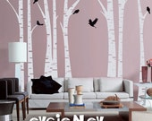 Birch Tree Wall Decal - White Tree Wall Decal - TRFR010R