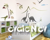 Dinosaurs Wall Decals - Family by the Lake Scene Wall Decals - PLDN010