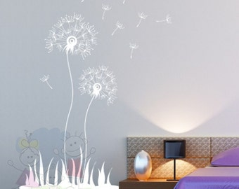 Children Wall Decal Wall Sticker Flying Dandelion - Living Room, Hallway, Decor, Interior Wall Decal - FLDL020