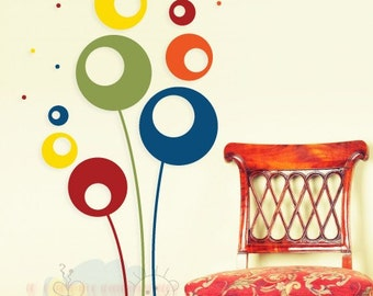 Flowers Wall Decals for Living Room - Abstract Flowers Living Room Decal - FLAB020