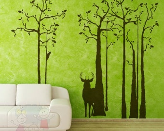 Deer Wall Decals - Trees Wall Decals and Wall Sticker TRSD010
