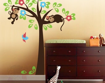 Nursery Kids Removable Wall Vinyl Decal - Little Monkeys on the Tree with Bird - PLSF030L