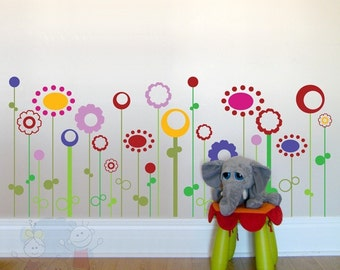 Wall Decals For Nurseries - Multicolored Abstract Wild Flowers Vinyl Stickers - FLWD010
