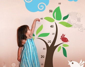 Growth Chart Decals - Chipping Birds - GRCH010R