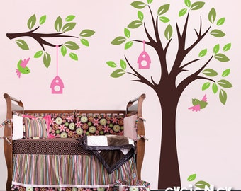 Children Nursery Wall Decal Wall Sticker Kids Decal - Tree Wall Decal with Birds - Baby Nursery Wall Decals -  TRBL030R
