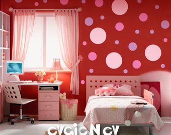 Pink Rose Polka Dots - Vinyl Art Wall Decal - Easy Update Girls Baby Toddler Room - MDPD020