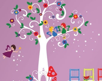 Fairytale Wall Decals - Magic Tree with Flying Fairies and Stars - INSTANT SHIPPING - PLFT010R