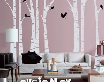 Forest Wall Decals - Famous Birch Trees with Birds Wall Sticker - TRFR010R