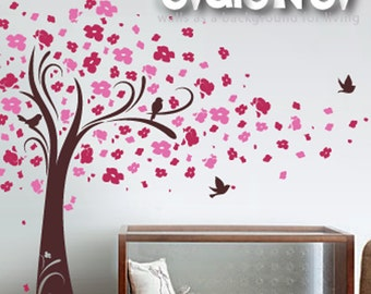 Cherry Blossom Wall Decals   Tree With Birds Wall Stickers   TRCB020R