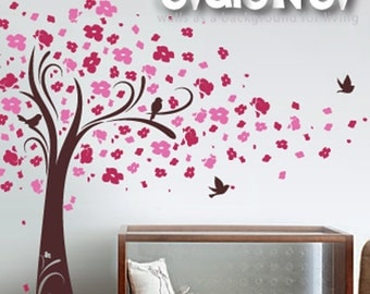 Wall Decals - Cherry Blossom Tree Wall Decal with Birds - EXPEDITED SHIPPING - TRCB020R