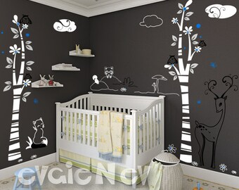 Nursery Wall Decals - Delicate Woodland Animal Wall Decals - PLDW020L