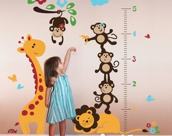 Safari Growth Chart Wall Decal -  Giraffe and Monkeys on Sleeping Lion Wall Sticker - PLSF070