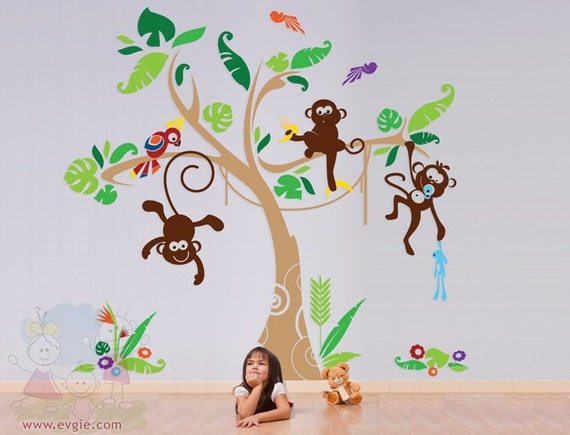 Children Wall Sticker Wall Decal VInyl tree decal - Monkey Tree with Parrot - Wall Stickers For Kids Room - PLJN030L