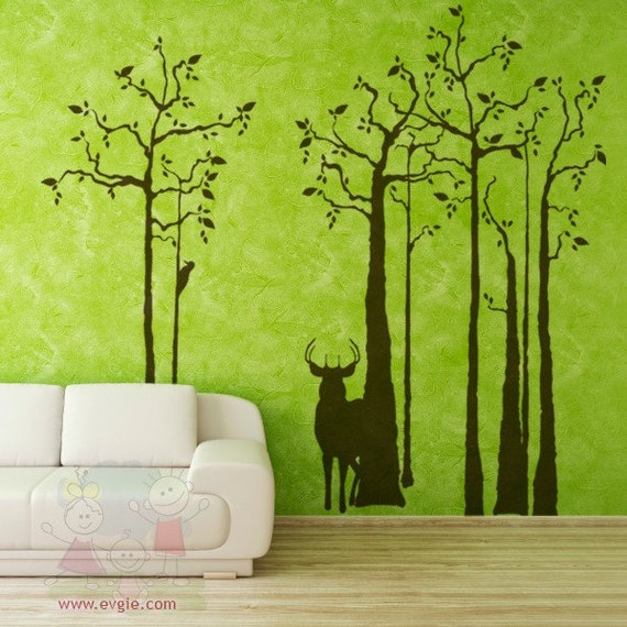 Deer wall decals trees wall decals and wall sticker trsd010 for Deer mural decal