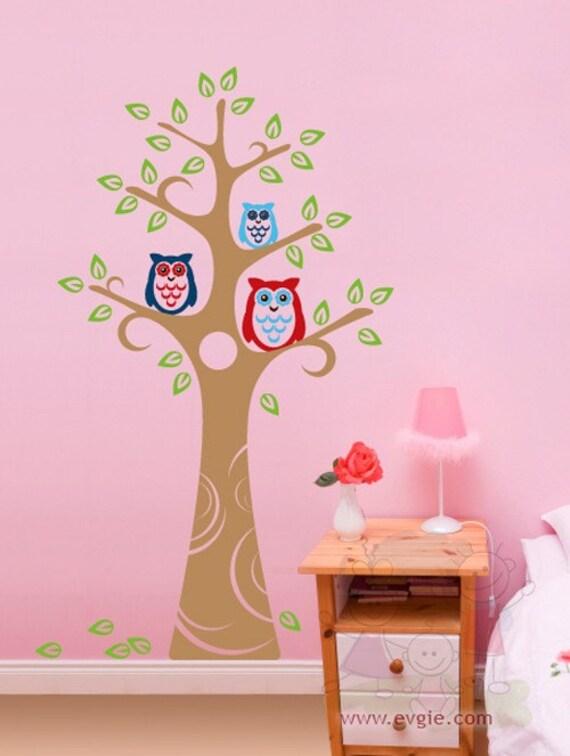 Owls Wall Decals - Nursery Owl Tree Wall Stickers - TROW010