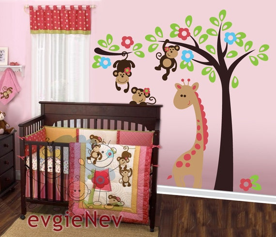 Children Wall Decal Wall Sticker tree decal - Monkeys on the Tree with Giraffe Wall Sticker - INSTANT SHIPPING - PLSF020L