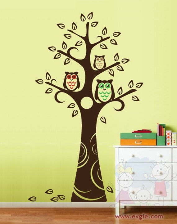 wall decals wall sticker three owls and the tree nursery wall decal