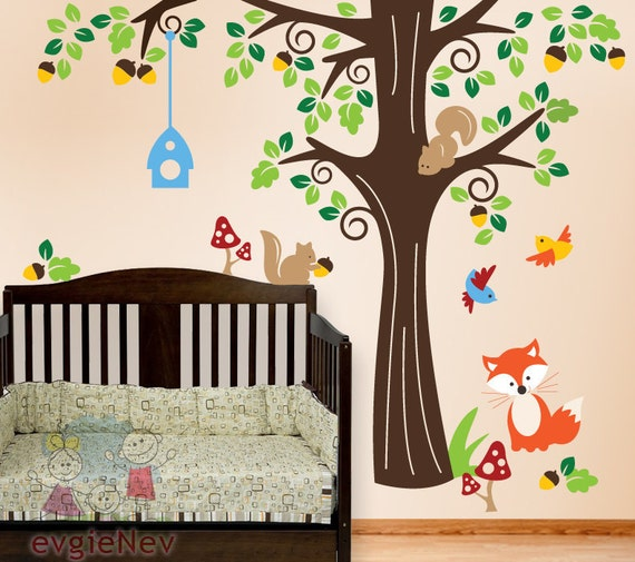 Nursery Wall Art - Animals in the Wood Wall Stickers - Nursery Wall Decals for Kids Vinyl Decals -  PLFR010L