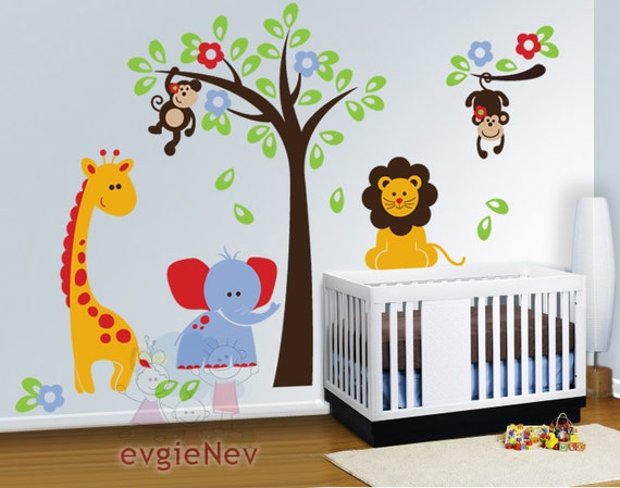 Nursery wall decals baby wall decal safari wall decal for Baby room jungle mural